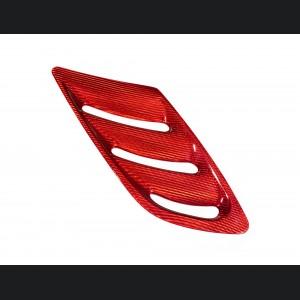 Alfa Romeo Stelvio Hood Air Vent Trim Kit - Quadrifoglio - Carbon Fiber - Red Candy