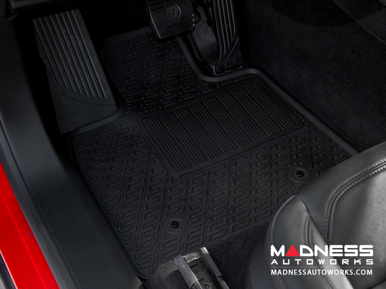Alfa Romeo Stelvio Floor Mat Set - All Weather Rubber Front/ Rear 4 Piece Set - Deluxe