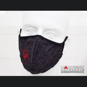 Face Mask - Triple Layer - Alfa Romeo Quadrifoglio Gray Cloverleafs w/ Red LogoGrid Design