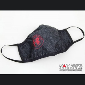 Face Mask - Triple Layer - Alfa Romeo Quadrifoglio Gray Cloverleafs w/ Red Logo Grid Design