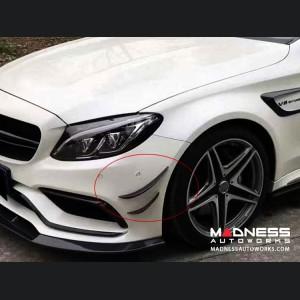 Mercedes-Benz C-Class W205 Front Bumper Fins - Carbon Fiber