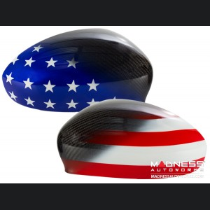 FIAT 500 Mirror Covers in Carbon Fiber - American Flag