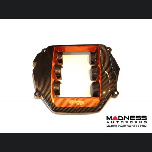 Nissan GT-R Engine Cover in Carbon Fiber w/ Orange Accents
