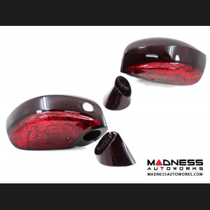 Nissan GT-R R35 Mirror Covers in Carbon Fiber - Red Candy w/ Airbrushed Design