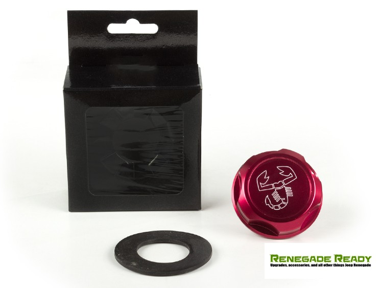 Jeep Renegade Oil Cap - Scorpion Logo - Red Anodized Billet
