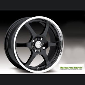 "Jeep Renegade Custom Wheels by Raceline - 126 - 18""x7.5"" - Black w/ Mirror Lip"