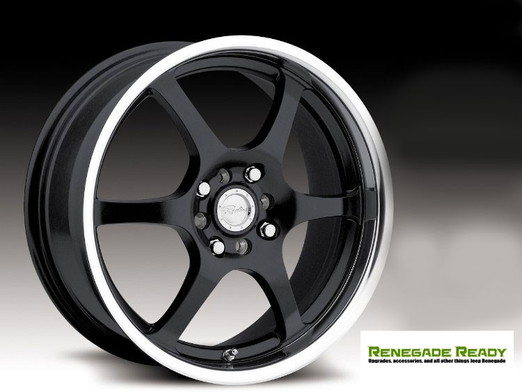 "Jeep Renegade Custom Wheels by Raceline - 126 - 16""x7"" - Black w/ Mirror Lip"