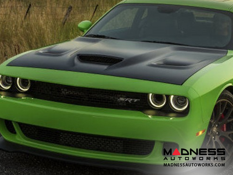 dodge dodge challenger hellcat hood replacement 2008 2016 madness autoworks auto parts. Black Bedroom Furniture Sets. Home Design Ideas