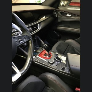 Alfa Romeo Giulia Shift Gate Panel - Automatic - Carbon Fiber - Red - Non Quadrifoglio Model