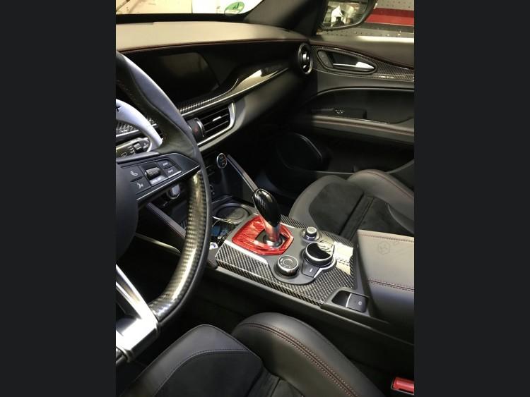 Alfa Romeo Giulia Shift Gate Panel - Automatic - Carbon Fiber - Red - Non Quadrifoglio Model
