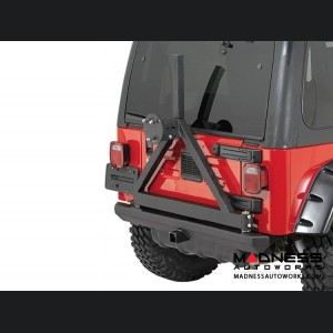 Jeep Wrangler JK SRC Classic Bumper w/ D-Rings & Hitch w/ Tire Carrier - Rear - Black Textured