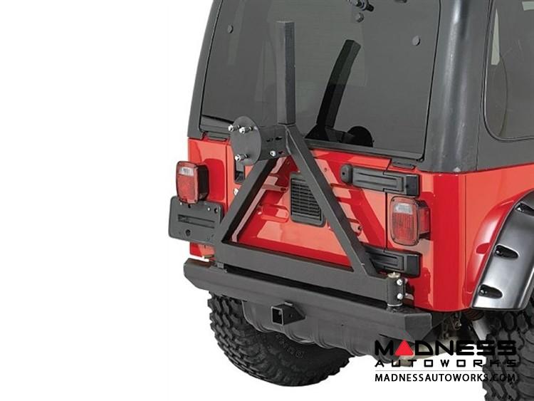 Jeep Wrangler JK SRC Classic Bumper w/ D-Rings & Hitch w/ Tire Carrier - Rear - Black Textured