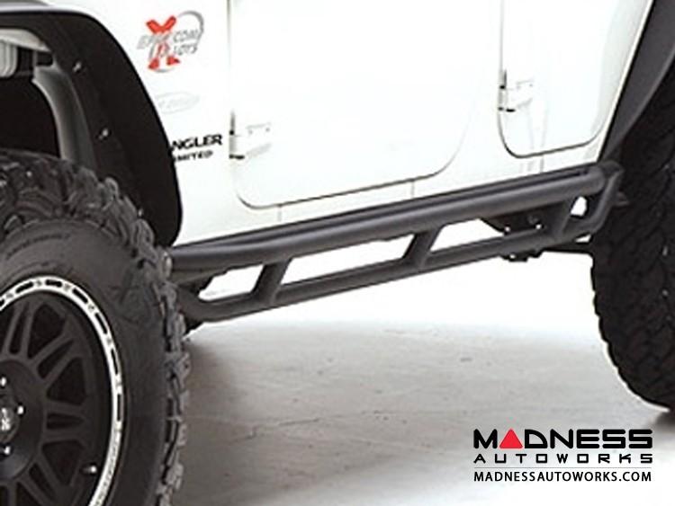 Jeep Wrangler JK SRC Side Armor by Smittybilt - Black Textured - 4 Door