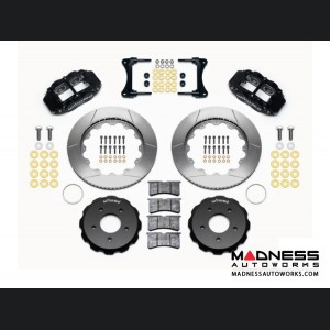 "Jeep Wrangler JK Brake Conversion Kit - 14"" Rotors - Wilwood Superlite 4R 4 Piston Front Brake Upgrade Kit (Black Powder Coated Calipers / GT Slotted Rotors)"