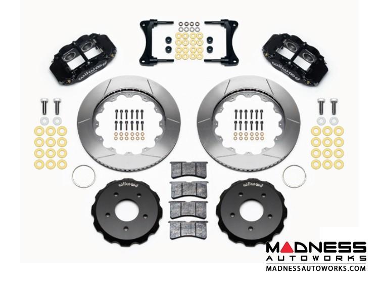 "Jeep Wrangler JK Brake Conversion Kit - 12.88"" Rotors - Wilwood Superlite 4R 4 Piston Front Brake Upgrade Kit (Black Powder Coated Calipers / GT Slotted Rotors)"