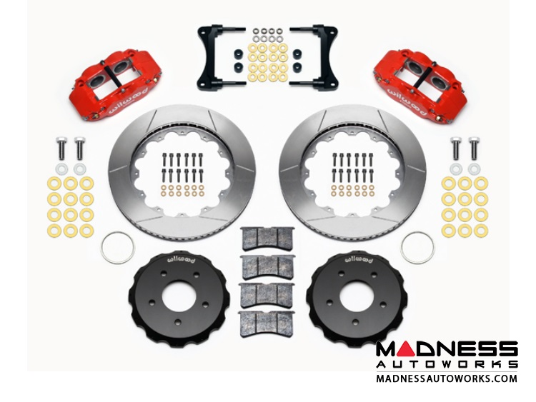 "Jeep Wrangler JK Brake Conversion Kit - 14"" Rotors - Wilwood Superlite 4R 4 Piston Front Brake Upgrade Kit (Red Powder Coated Calipers / GT Slotted Rotors)"