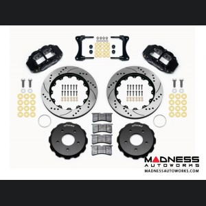 "Jeep Wrangler JK Brake Conversion Kit - 14"" Rotors - Wilwood Superlite 4R 4 Piston Front Brake Upgrade Kit (Black Powder Coated Calipers / SRP Drilled & Slotted Rotors)"