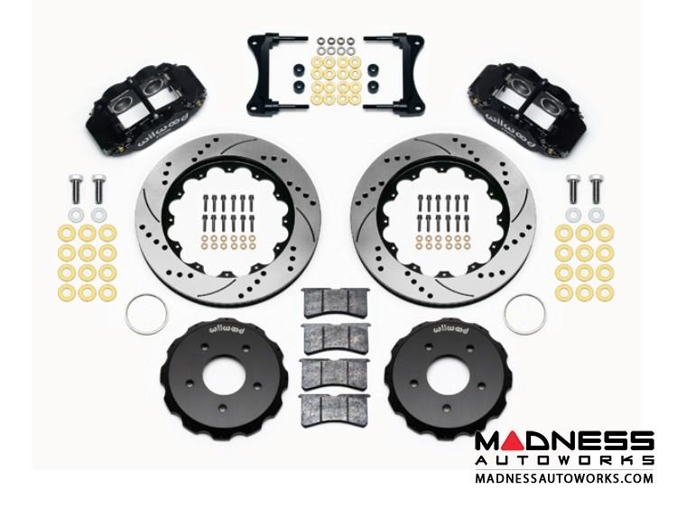 "Jeep Wrangler JK Brake Conversion Kit - 14"" Rotors - Wilwood Superlite 4R 4 Piston Front Brake Upgrade Kit (Black Powder Coated Calipers / SRP Drilled & Slotted Rotors)"