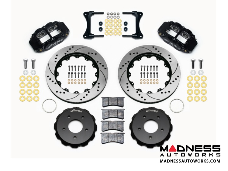 "Jeep Wrangler JK Brake Conversion Kit - 12.88"" Rotors - Wilwood Superlite 4R 4 Piston Front Brake Upgrade Kit (Black Powder Coated Calipers / SRP Drilled & Slotted Rotors)"
