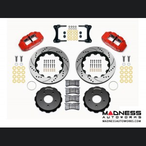 "Jeep Wrangler JK Brake Conversion Kit - 14"" Rotors - Wilwood Superlite 4R 4 Piston Front Brake Upgrade Kit (Red Powder Coated Calipers / SRP Drilled & Slotted Rotors)"