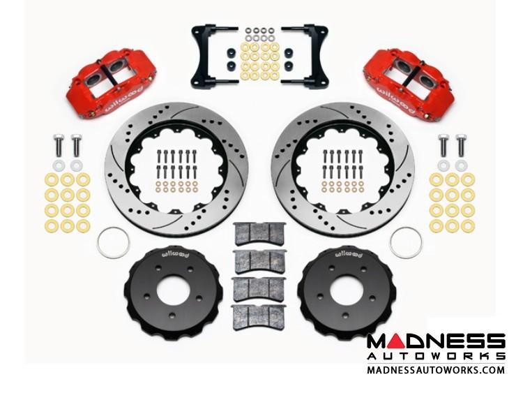 "Jeep Wrangler JK Brake Conversion Kit - 14"" Rotors - Wilwood Superlite 4R 4 Piston Front Brake Upgrade Kit (Red Powder Coated Calipers / SRP Drilled & Slotted Rotors)"