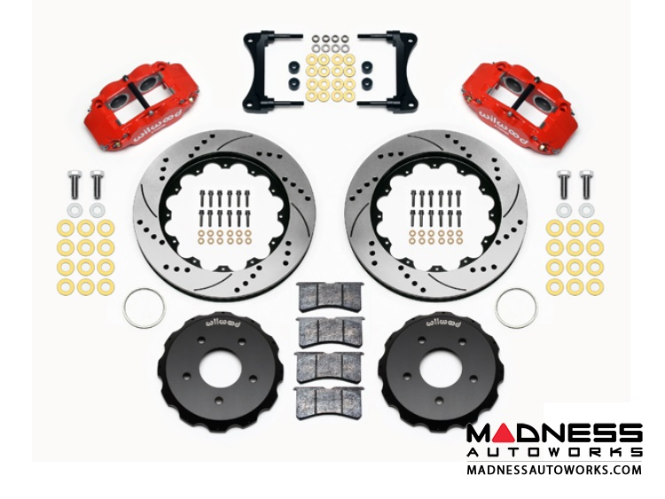 "Jeep Wrangler JK Brake Conversion Kit - 12.88"" Rotors - Wilwood Superlite 4R 4 Piston Front Brake Upgrade Kit (Red Powder Coated Calipers / SRP Drilled & Slotted Rotors)"