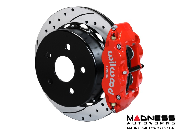 "Jeep Wrangler JK Brake Conversion Kit - 12.88"" Rotors - Wilwood Superlite 4R 4 Piston Rear Brake Upgrade Kit (Red Powder Coated Calipers / SRP Drilled & Slotted Rotors)"