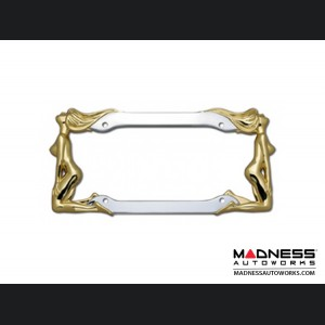 License Plate Frame - Chrome w/ Gold Twins