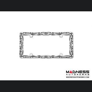 License Plate Frame - Chrome and Black Tribal Design