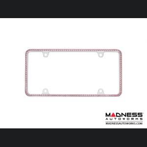 License Plate Frame (1) - Chrome Frame w/ Pink Crystals