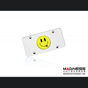 License Plate - Stainless Steel Plate - Smiley Logo with Tongue